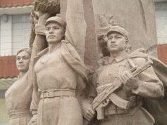 Socialist Realist Sculptures Flanking Mao's Mausoleum Beijing