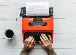 Typewriter with coffee