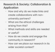 Research and society: Collaboration and application