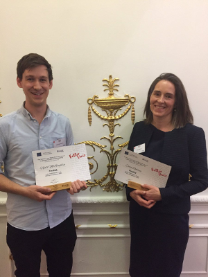 Celia Robbins and Niall McLoughlin with their Better Lives Writing Competition finalist certificates