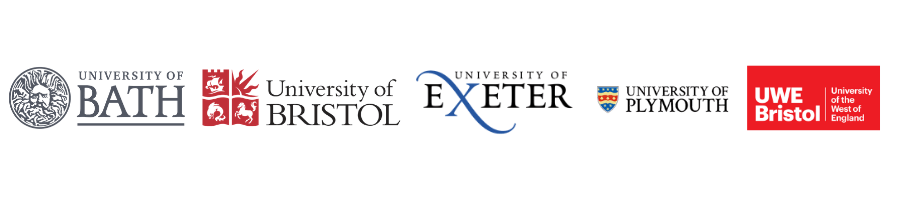 Banner of 5 South West Universities logos: University of Bath, University of Bristol, University of Exeter, University of Plymouth and University of the West of England.