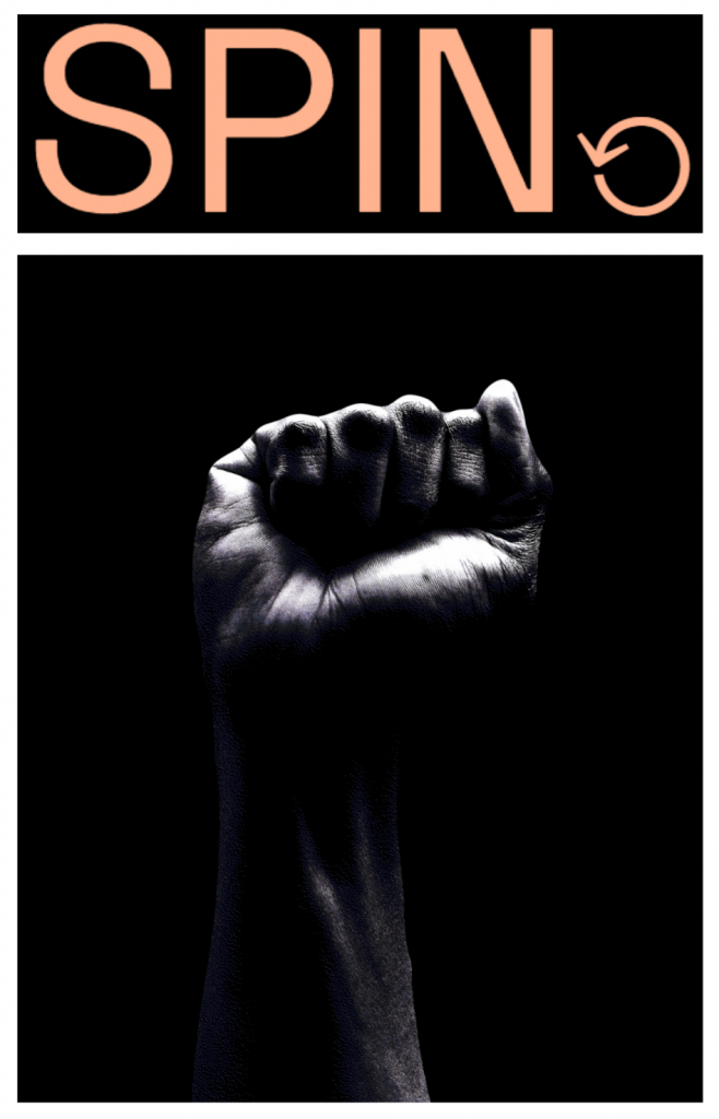 SPIN logo with fist raised
